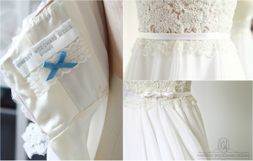 Exclusive to KIMBERLEY WOODWARD DESIGNS, every gown features a small 'Something Blue' bow and a piece of specially chosen vintage lace as 'Something Old'.