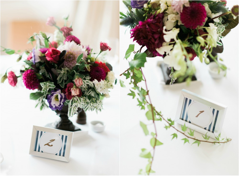 Love these table flower arrangements by Lola's Tea Cup!
