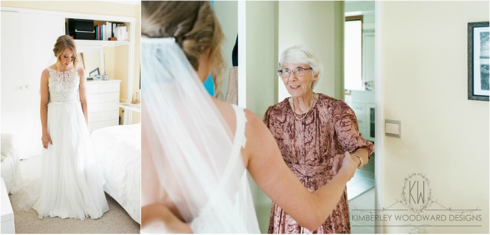 Love this shot of Sally's grandmother Lurle (also in her custom made dress) seeing Sally in her gown.