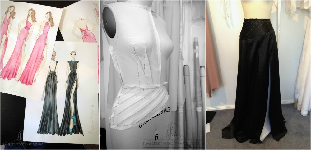 Production sketches and calico draping of the bodice and skirt to ensure the perfect fit.