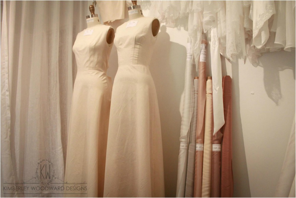 Initial calico toilles - all custom gowns begin as a calico mock-up while we determine the style, shape and fit.