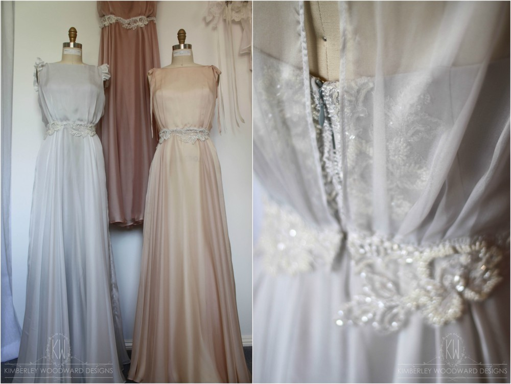 Beautiful hand beaded French bridal lace was featured on the waist and down the centre back of each gown.