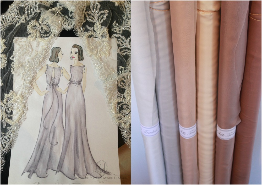 Final design for Lara's bridesmaid dresses with the delicate hand beaded French bridal lace, and the final pure silk colour choices.