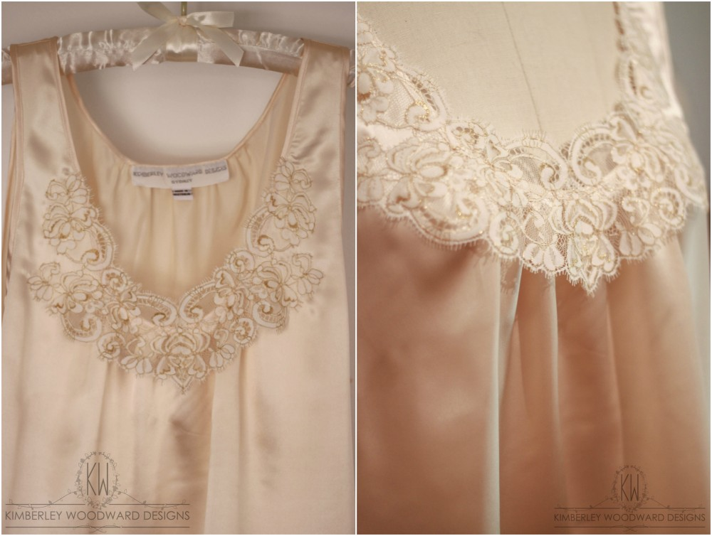 Lynne's pure silk camisole featured delicately golden French Chantilly lace appliqué.