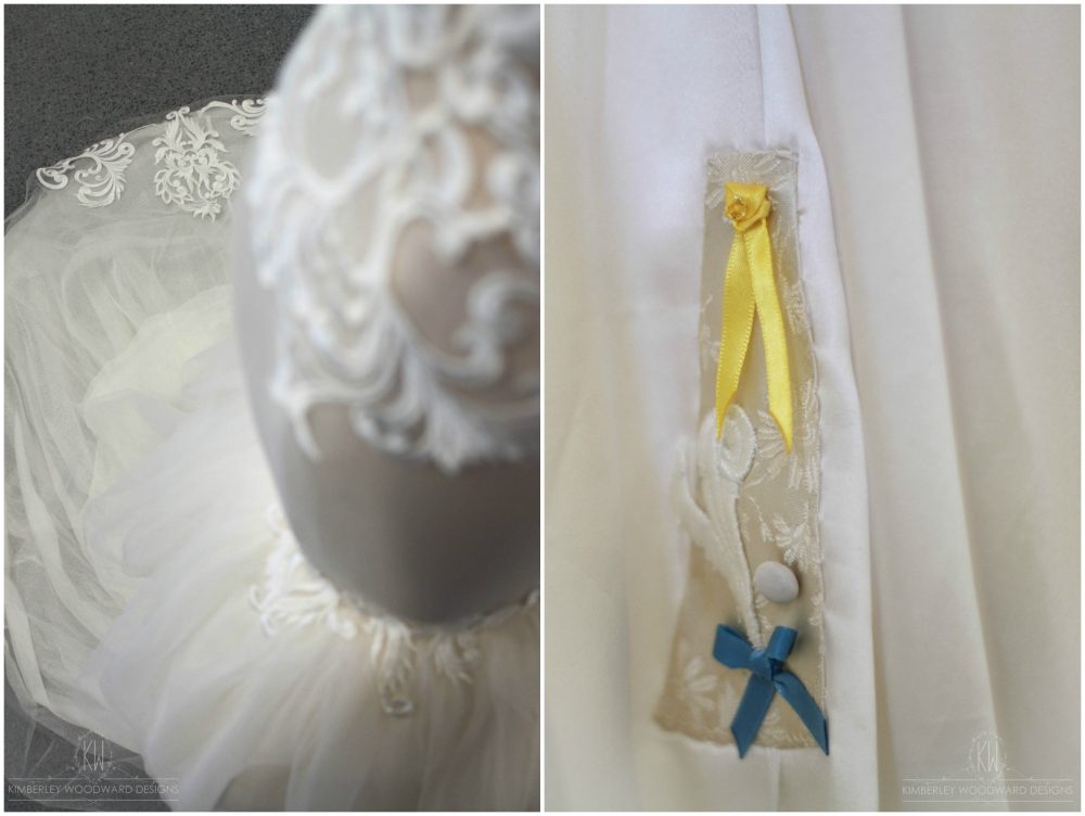 A few treasured items tucked away on the inside of Sophie's gown - A yellow ribbon in memory of Stephanie Scott, fabric from her grandmother's wedding dress, a button from her mother's wedding dress, and a small 'something blue'.